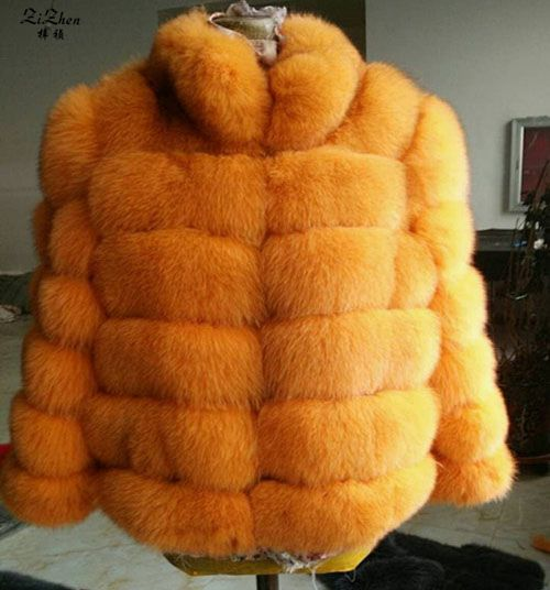Frauen Natürliche Echte Fuchs Pelz Mantel Winter Warm Echte Natürliche Pelzmantel Weibliche Jacke Mit Stehkragen Gestreiften Stil 180427 -1
