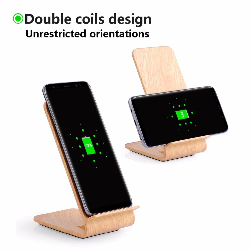DULCII A8 10W Fast Quick Charge 2.0 Qi Wireless Charging Charger Stand Wooden for iPhone X 8 Plus for Samsung Galaxy S8 S7 Etc.