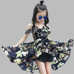 Girls Dress Bohemia Style Dresses Girls Sleeveless Floral Dress For Adolescents 8 10 12 Big Kids Girls Clothes