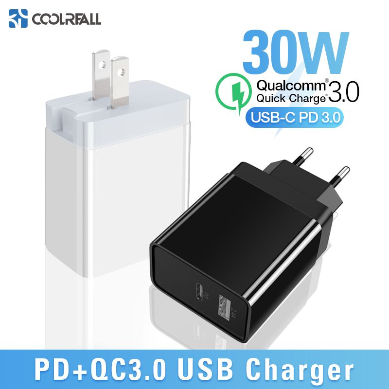 Coolreall chargeur rapide 3.0 USB chargeur Portable pour Huawei xiaomi Samsung QC3.0 30 W chargeur rapide PD 3.0 chargeur rapide pour iPhone
