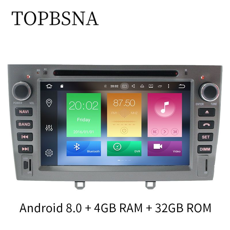 TOPBSNA Quad Core 4G+32G Android 8.0 7 inch Car DVD for Peugeot 308 408 308SW GPS Navigation with wifi Radio Bluetooth RDS TMPS
