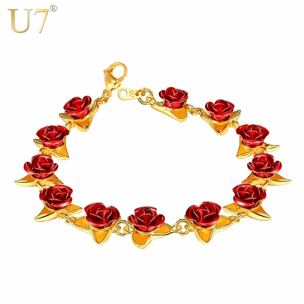 U7 Bracelet Red Rose Flowers Gold Color Wrist Chain Valentine's Day Gift For Women Fashion Jewelry Bracelets Hot Sale 2018 H1047