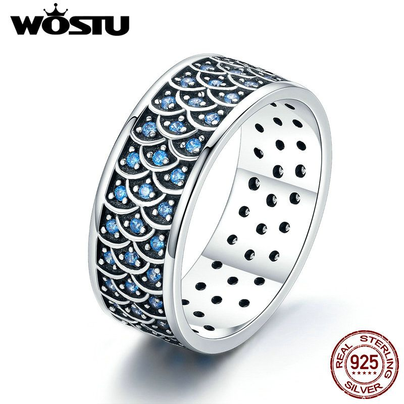 WOSTU Top Sale 925 Sterling Silver Sea Wave Stackable Wide Rings for Women Luxury Sterling Silver Jewelry Gift CQR212