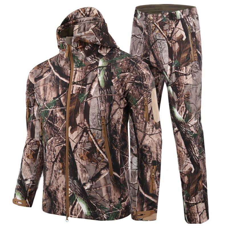 HANWILD homme nouveau hiver imperméable pantalon de pêche tactique SoftShell chasse extérieur vestes ensemble armée costume militaire pantalon S1