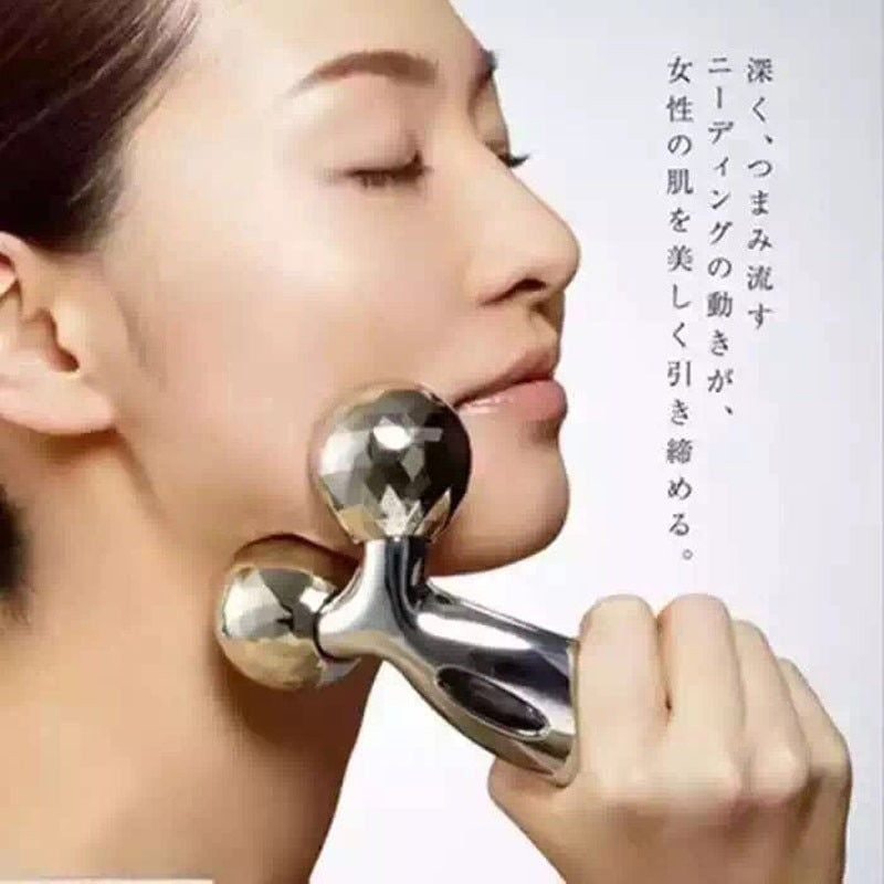 3D Roller Massager 360 Rotate Silver Thin Face Full Body Shape Lifting Wrinkle Remover Facial Massage Relaxation Tool