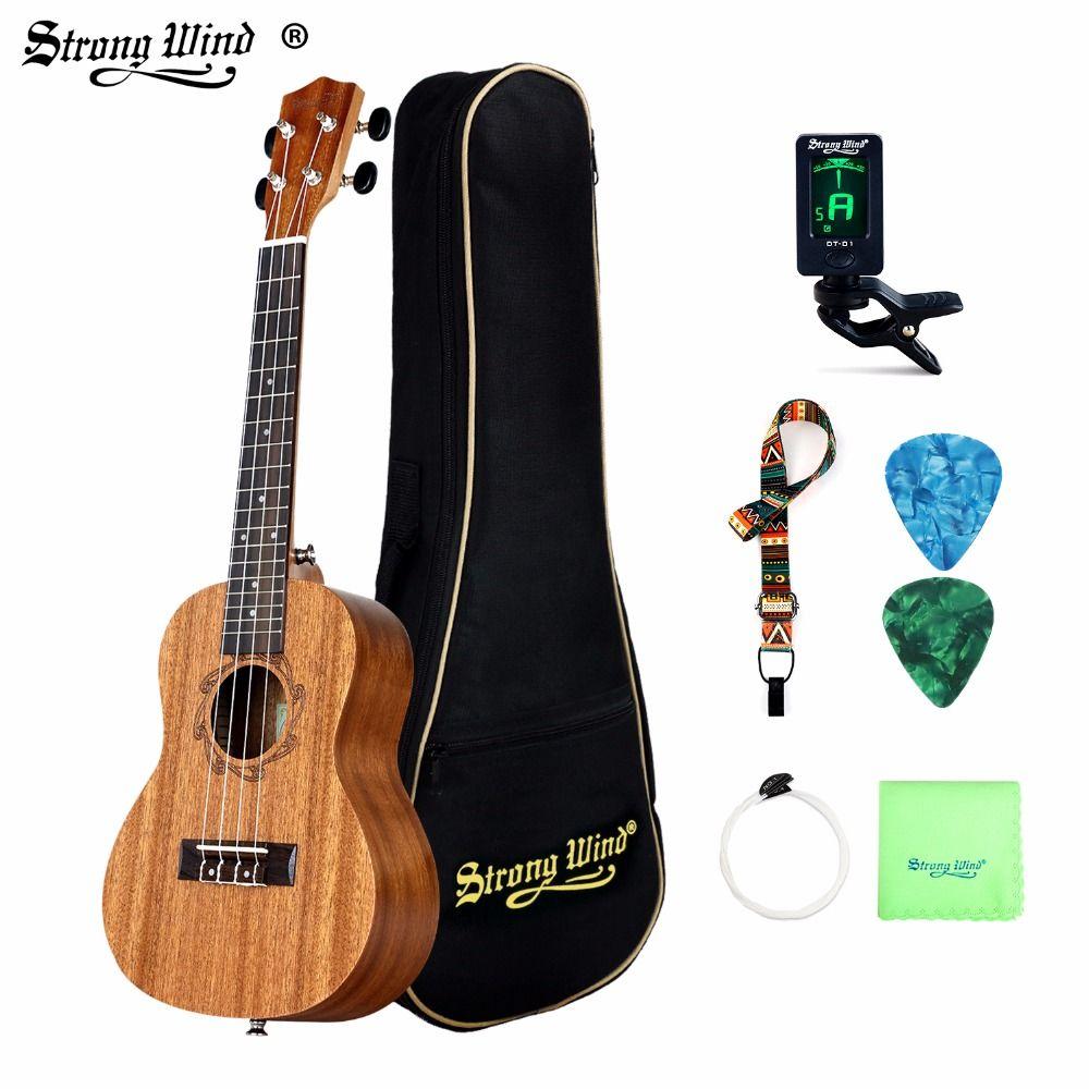 26 Inch 18 Frets Sapele Tenor Ukulele Guitar Uke Rosewood 4 Strings Hawaiian Guitar Starter Kits For Beginner With Pick Tuner