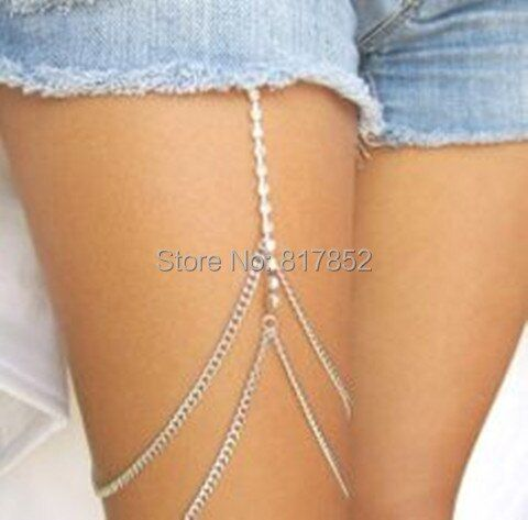 FREE SHIPPING STYLE L13 SILVER PLATED CHAINS SILVER RHINESTONE CHAINS TWO LAYERS LEG CHAIN BODY JEWELRY 2 COLORS