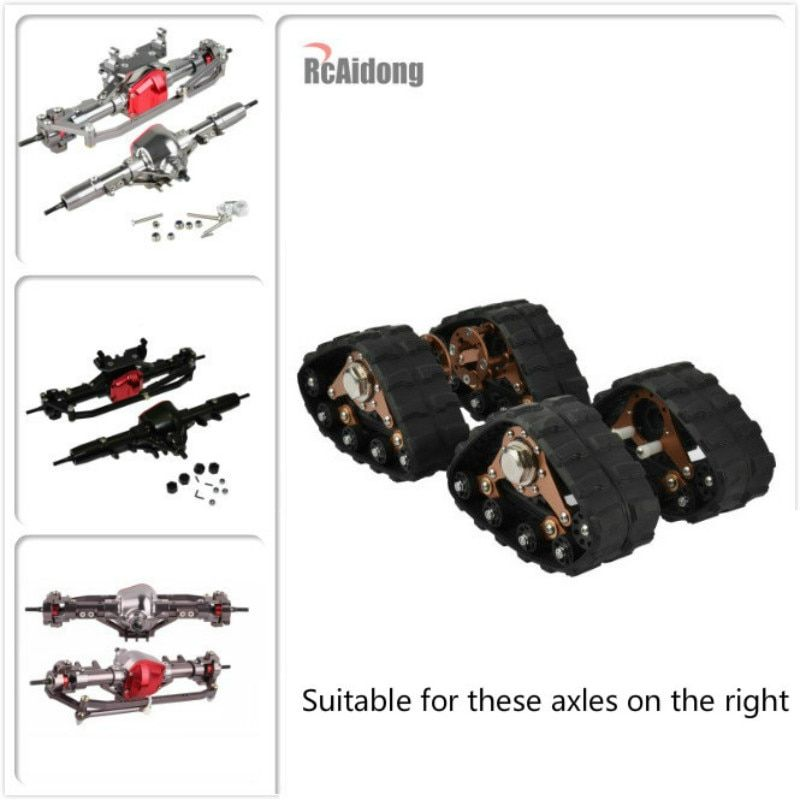 1/10 4PCS RC Aluminum Alloy Tracks Wheel Sandmobile Conversion Snow Tire for 1:10 Scx10 Axial Scale Axle and Trail Crawler