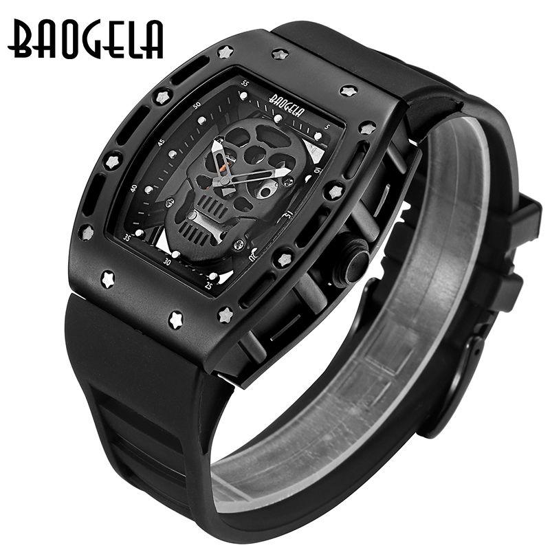 Watches Men Baogela Top Brand Mens Silicone Analogue Quartz Watches Fashion Military Wateproof Skeleton Wrist watch for Man 1612