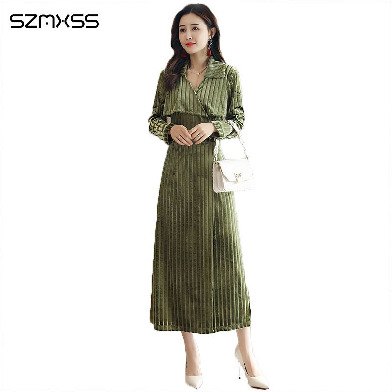 Fashion new temperament OL women dresses Slim thin V-neck long dress striped long-sleeved Elegant high quality literary Dress