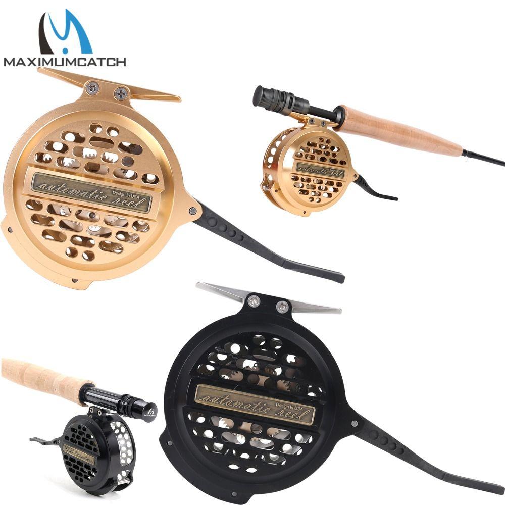 Maximumcatch Automatische Fly Fishing Reel Gefräste Aluminium Y4 70 Super Licht Silber/Schwarz Fly Reel