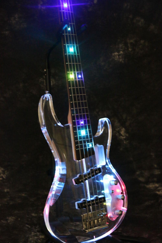 В наличии Starshine SR-BBS красочные кристалл стиль, 5/4 струны бас-гитара Свет акриловые тела и бабка