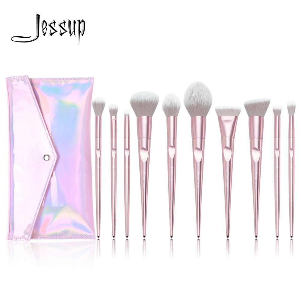 New Arrival Jessup brushes 10pcs Pink Makeup brushes set beauty Make up brush & 1PC Cosmetic bag women blush Powder Foundation