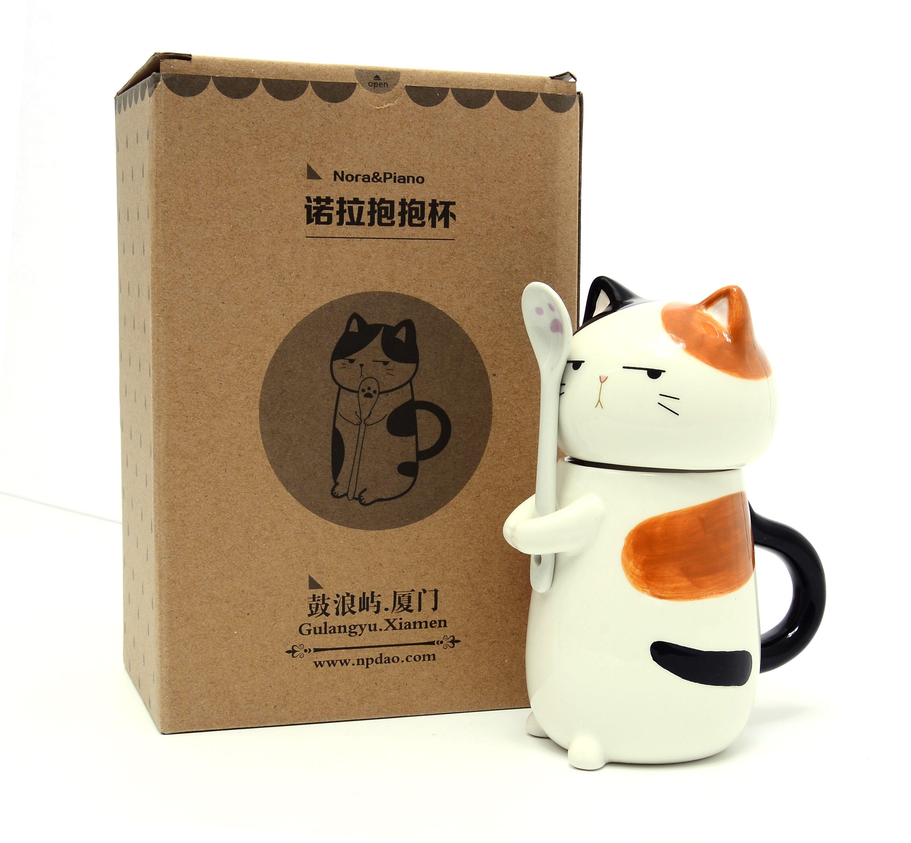 275cc кошка собака кружка для кофе с крышкой ложки керамическая чашка чая милые животные Drinkware 6 видов стилей