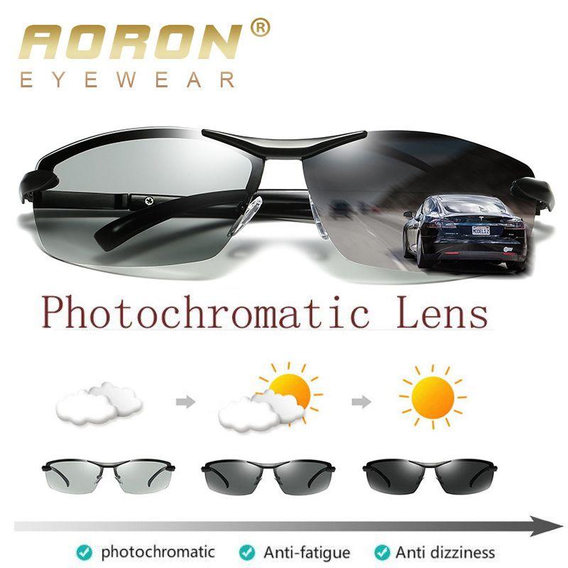 AORON photochromique lunettes de soleil polarisées hommes décoloration lunettes Anti éblouissement UV400 lunettes conduite lunettes Oculos