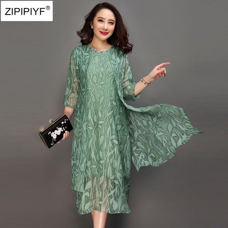 Large size 6XL 2018 spring Pink green print dress O neck half sleeve casual Vestido feminina summer vintage silk A-line dress