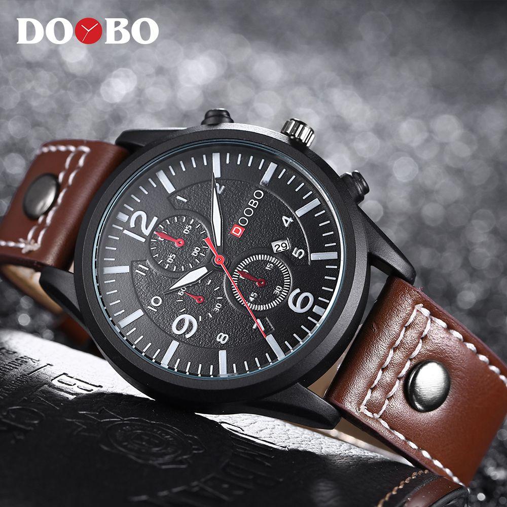 2017 Luxury Brand DOOBO Men Military Sports Watches Men's Quartz Date Clock Man Casual Leather Wrist Watch Relogio Masculino