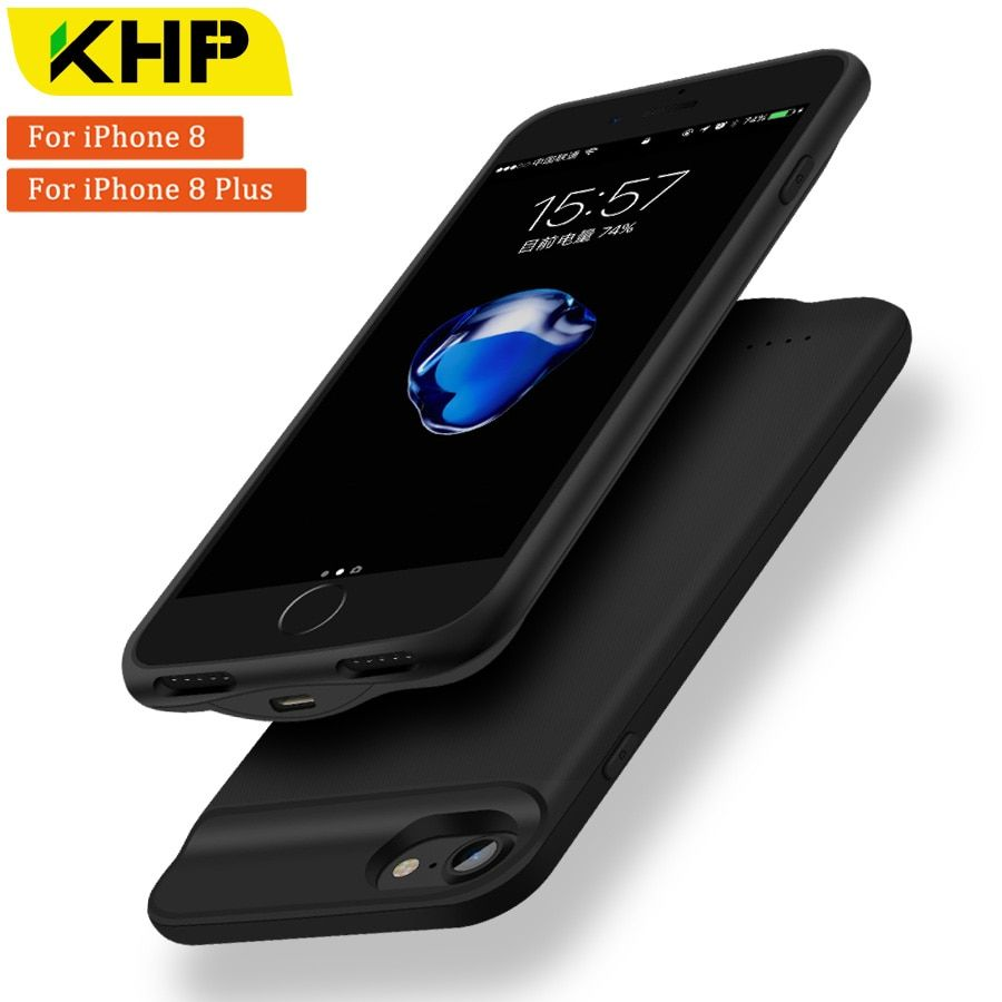 2018 KHP New Battery Charger Case For iPhone 8 Plus Case 2500/3200mAh Slim Power Bank Case External Battery Case PowerBank