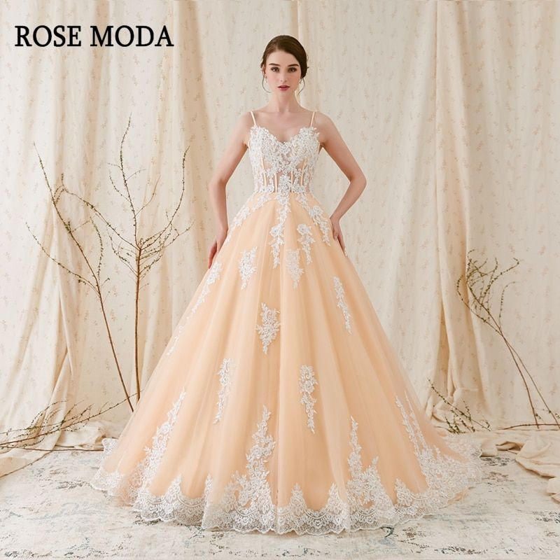 Rose Moda Gorgeous Alencon Lace Wedding Ball Gown 2018 Champagne Wedding Dress with Ivory Laces Real Photos