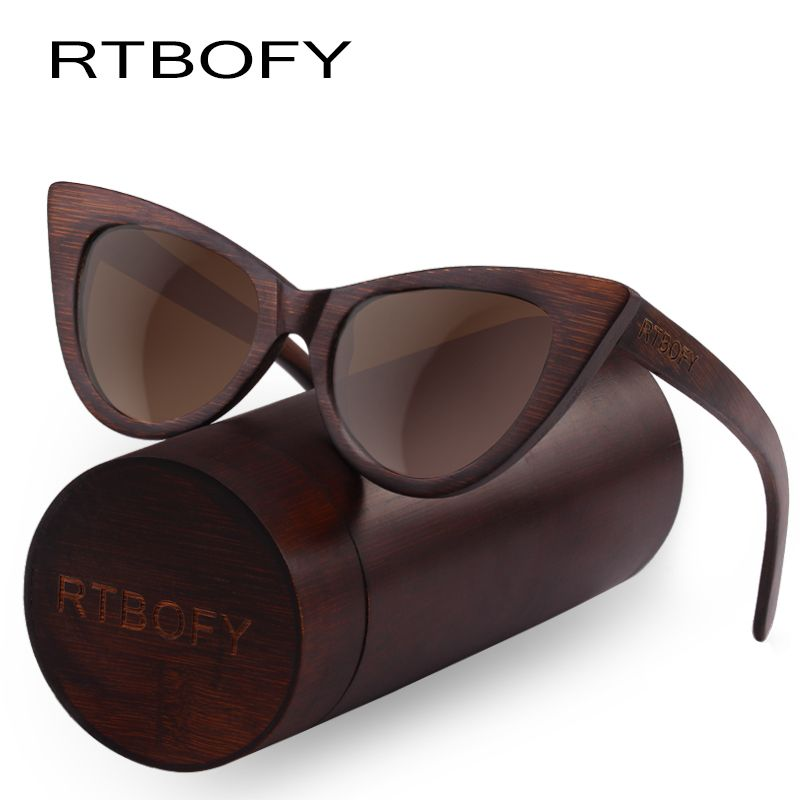 RTBOFY Wood Sunglasses Women Bamboo Frame Eyeglasses Polarized Lenses Glasses Vintage Design Shades UV400 Protection Eyewear