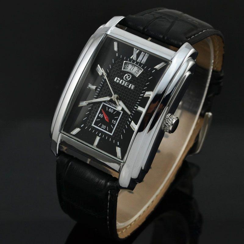 Marque Goer montre hommes bracelet en cuir automatique montres mécaniques hommes Rectangle montres Auto Date petites secondes Relogio Masculino