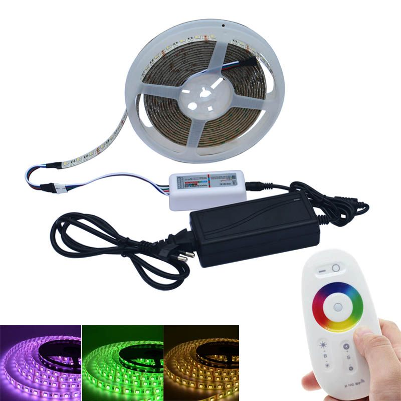 Jiawen 5050 DC12V RGBW LED Strip 5M 300LED RGBW  LED Light Strip Tape With 3A Power And 2.4G RF Touch Controller