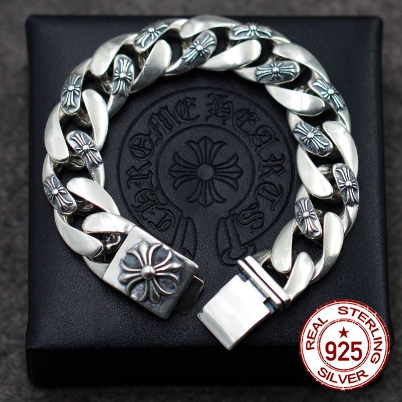 S925 sterling silver men's bracelet personality classic punk style hip hop domineering cross jewelry modeling send lover's gift