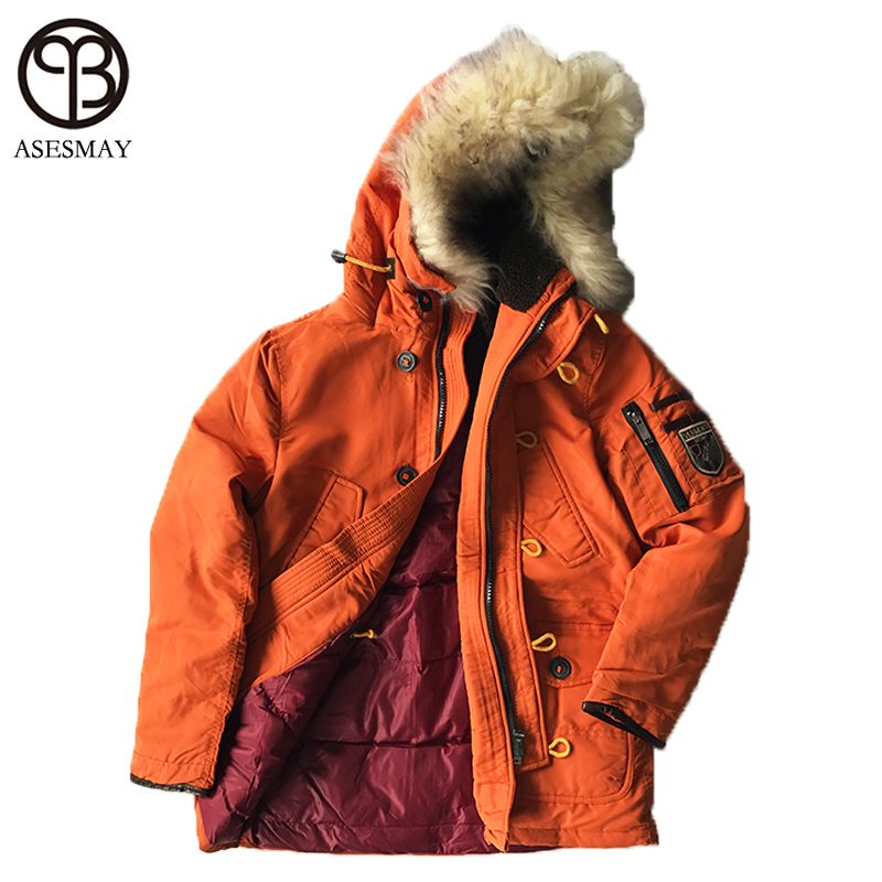 Asesmay Winter Jacket 2017 Brand Clothing Natural Fur High Quality Men's Jacket Thick Warm Hooded Coat Collar Parkas Hot Sale