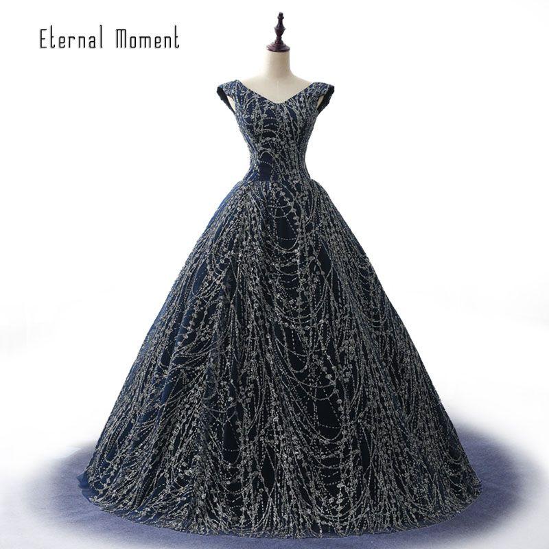 Lange Navy Blau Abendkleid 2017 Ballkleid V-ausschnitt Pailletten Frauen Formale Abendkleider robe de soiree