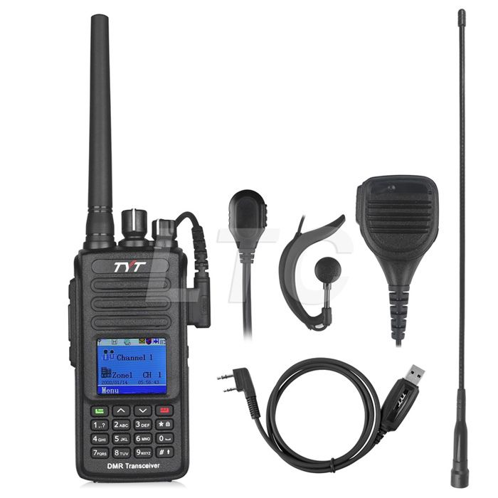 TYT MD-390 UHF 400-480mhz DMR Digital Two Way Radio Walkie Talkie IP67 Waterproof MD390 with Programming Cable CD Remote Speaker