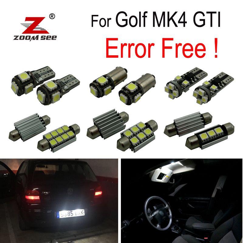 15 pièces lampe de plaque d'immatriculation LED pour Volkswagen VW GOLF 4 MK4 Jetta GTI LED ampoule intérieur dôme lumière Kit complet (1999-2005)