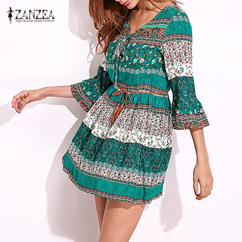 ZANZEA femmes Vintage imprimé Floral Sexy fête Mini robe 2019 dame volants volant 3/4 manches profonde col en V à lacets décontracté Vestidos