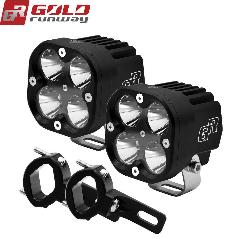 2 PCS 40 W Motorrad Scheinwerfer 4200LM Motorrad neue WIRKLICH U3 LED Moto Fahren Nebel Spot Kopf Licht mit Montage schellen