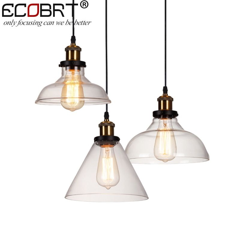 New American Country Retro Vintage Glass Lampshade Pendant Light E27 Glass Pendant Lamp for Restaurant Coffee bar Clothes shop