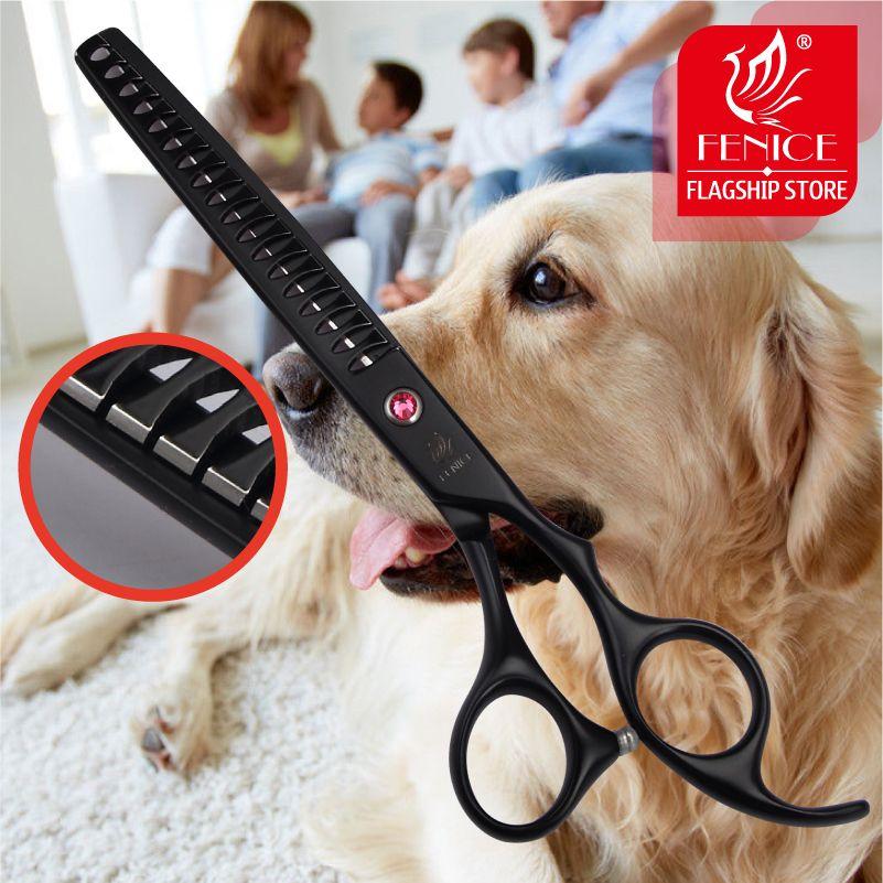 Fenice 7.0 pouces 7.5 pouces en acier inoxydable pour animaux de compagnie ciseaux amincissants pour chien toilettage taux d'amincissement 75%