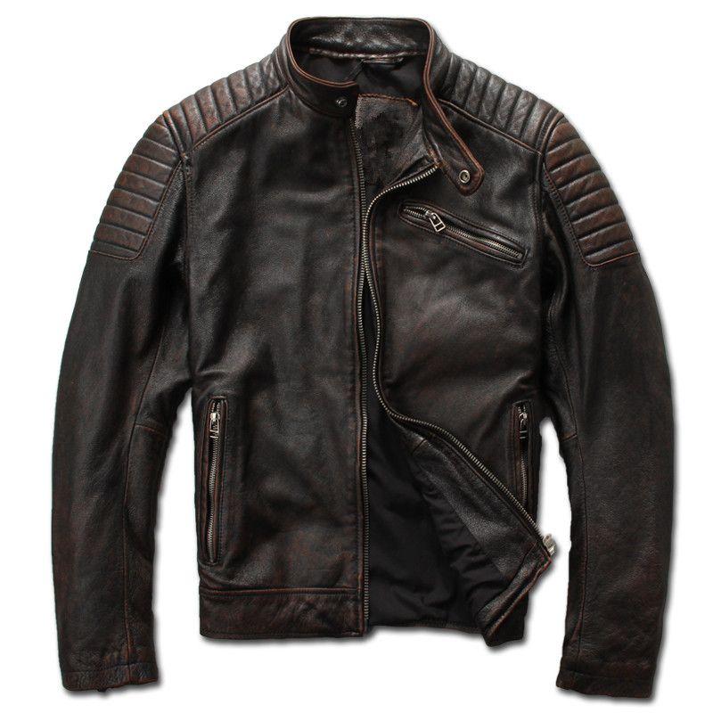 2018 Vintage Braun Männer Slim Fit Biker der Lederjacke Plus Größe 3XL Echtem Rindsleder Kurze Motorrad Ledermantel FREIES VERSCHIFFEN