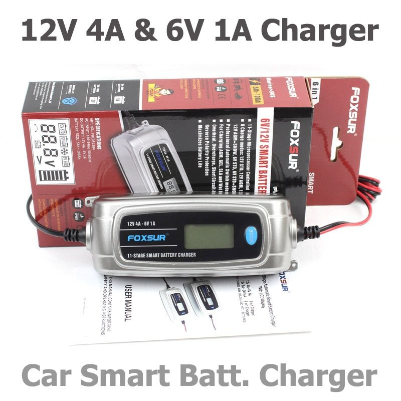 FOXSUR 6V 12V 11-stage Car Battery Charger Lead Acid Rechargeable Battery Automatic Intelligent Pulse Charger with LCD display