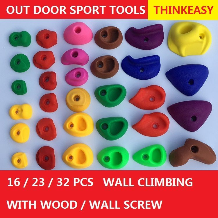 THINKEASY 32/16 Pcs Plastic children Indoor Rock Climbing Stones toy Kids Toys Sports Hold outdoor game Playground With screw