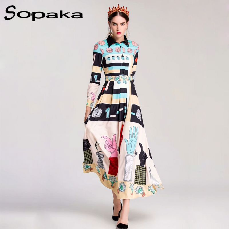 High Quality 2018 Autumn Blue Pink Sleeve Vintage Long Shirt Dress Floral Geometric Print Runway Designer Women Maxi Dresses XXL