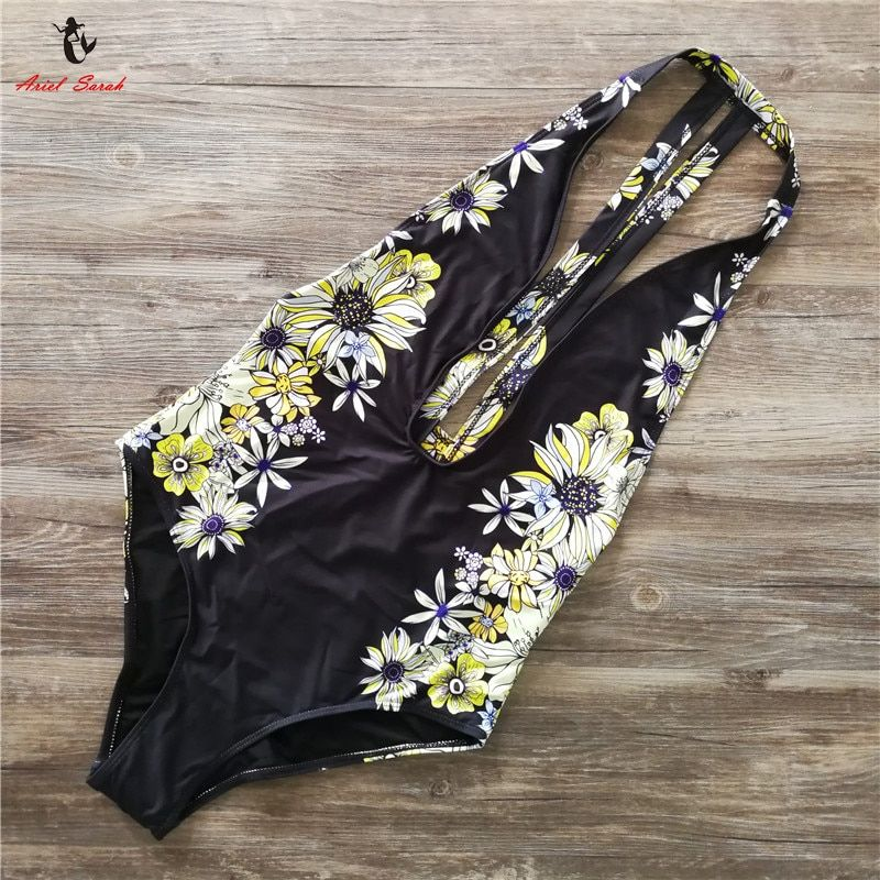 2017 Floral Swimwear Women New One Piece Swimsuit Brazilian Bikini Set Sexy Bandage Bikinis <font><b>Black</b></font> Bathing Suit Biquinis BJ244