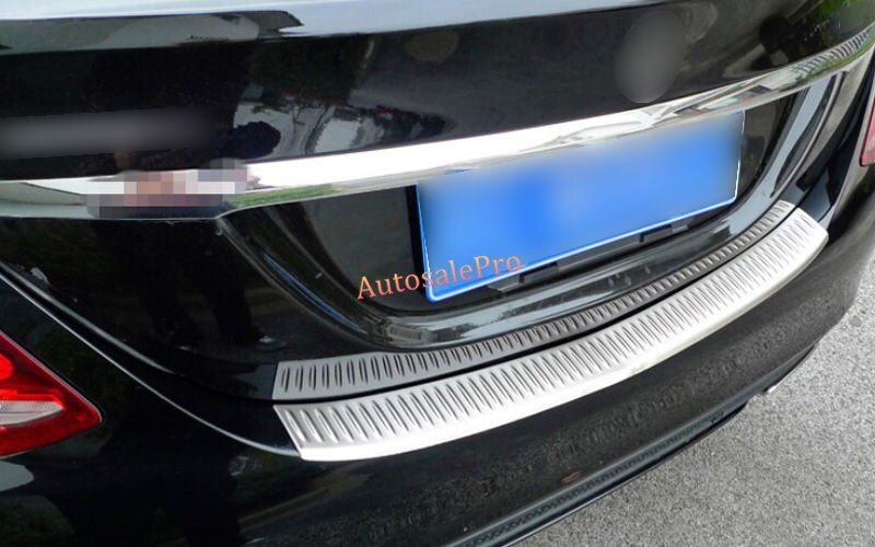 Steel Outer Rear bumper protector Trunk Step Plate Cover Trim Guard For Mercedes Benz C Class W205 Sedan 2014 2015