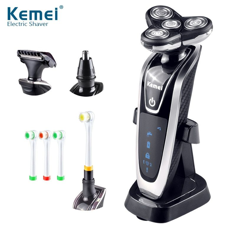 Kemei Electric Razor Rechargeable 4 In 1 Floating Triple Blade Heads Men Shaving Machine Electric Shaver Razor Replacement Head