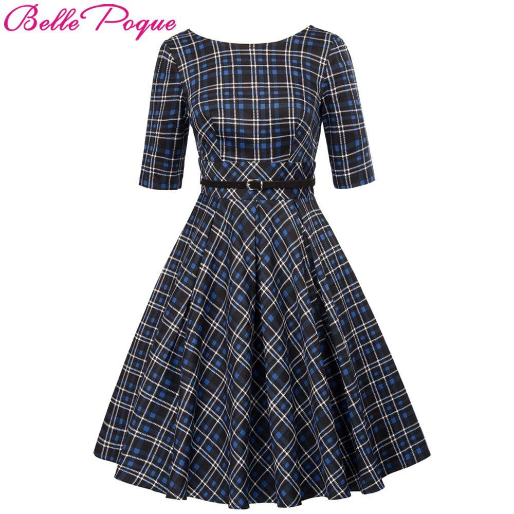 Vintage Plaid Dresses 50s 60s Women Summer Autumn Retro Clothing 2018 Cotton Party Robe Rockabilly Feminine Big Swing Vestidos