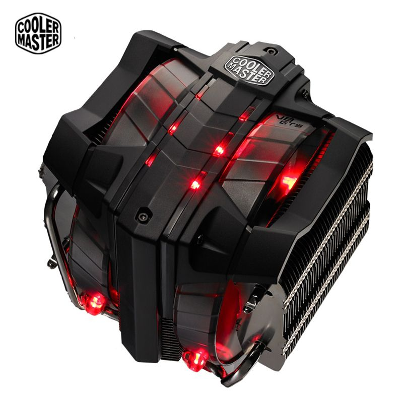 Cooler Master V8 GTS CPU Cooler 8 heatpipes double 140mm LED fans CPU radiator for 1150 1151 AMD 3 Tower Quiet CPU cooling fan