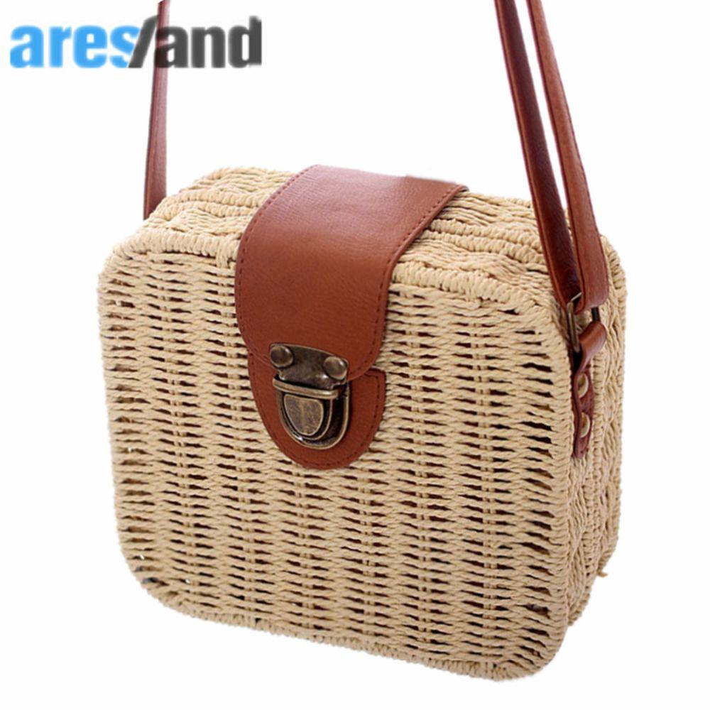 women's handbags mini women <font><b>messenger</b></font> bags leather Square Straw ladies Crossbody Bag shoulder bags summer bolsa feminina 2018