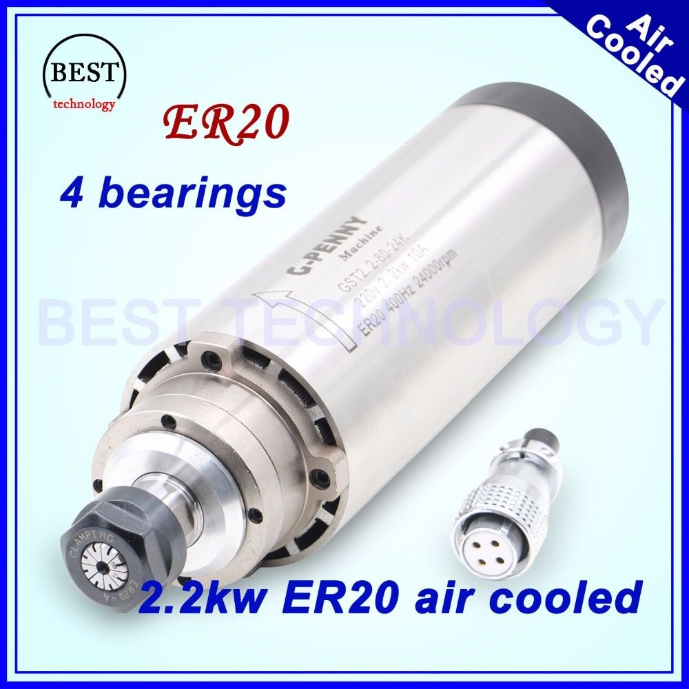 CNC milling spindle motor 2.2 kw ER20 220v Air cooling spindle motor 2.2kw air cooled 80x224mm 4 bearings for CNC engraving