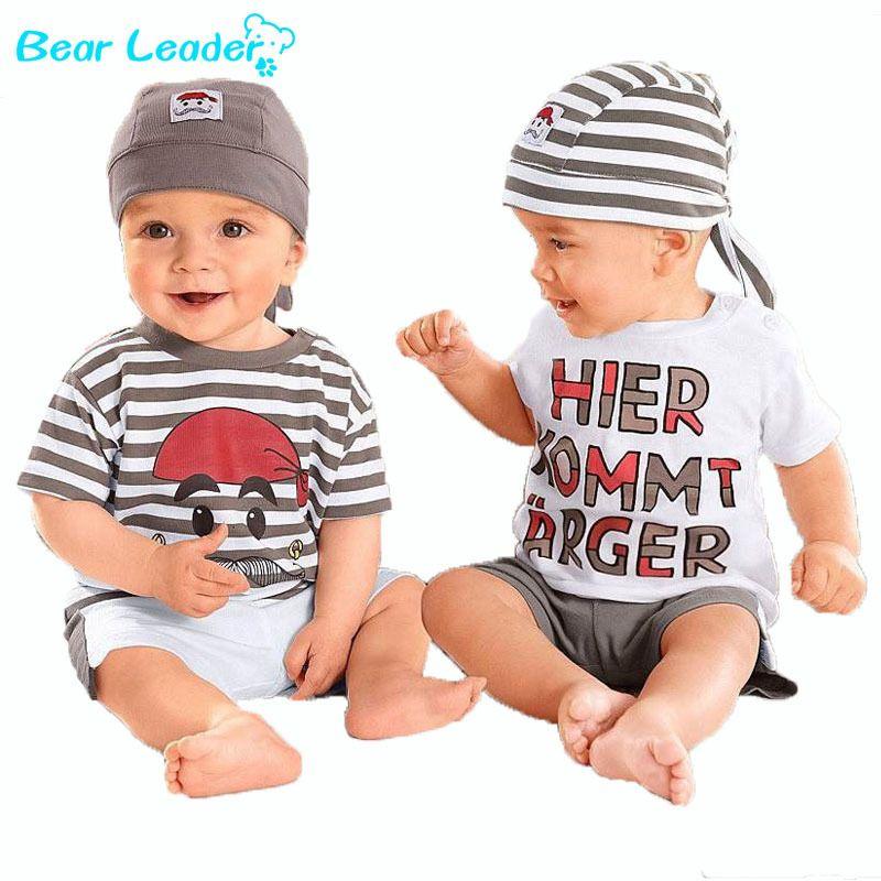 Bear Leader/для малышей Комплект 2018 новый летний письмо для маленьких мальчиков костюм комплект из 3 предметов шапка футболка Брюки для девочек Л...