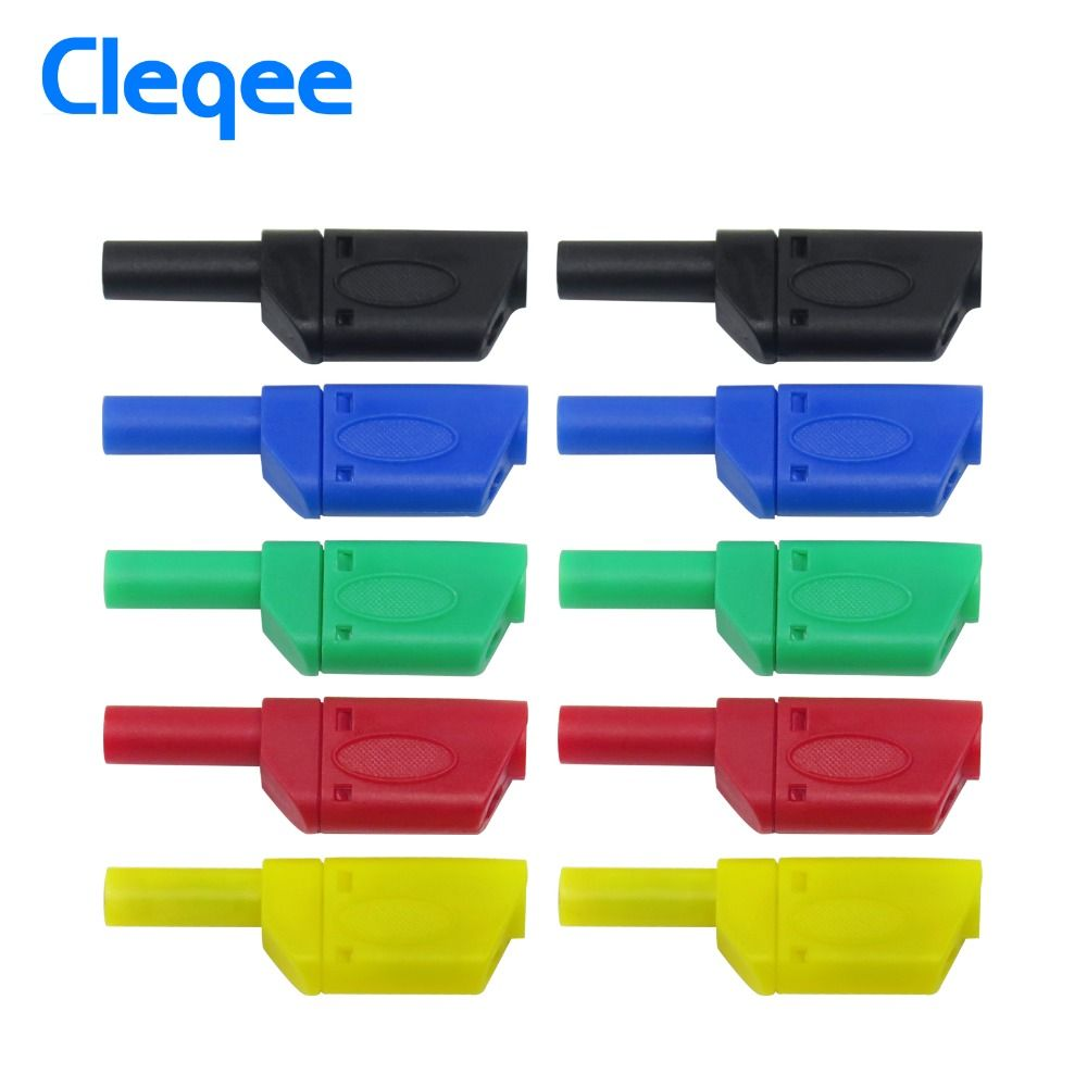 Cleqee P3004 10PCS Safety Fully Insulated 4mm Male Stackable Banana Plug Connector Test Lead Accessories