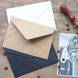 50 pcs/ensemble Vintage Brun Blanc noir Kraft blanc mini papier fenêtre enveloppes d'invitation de mariage enveloppe/cadeau enveloppe/3 couleur