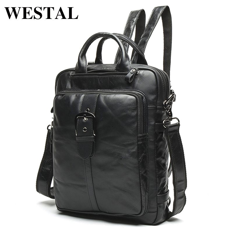 WESTAL Men Genuine Leather backpack Male laptop casual man Messenger Women Backpack female Schoolbag Backpacks for men 8863